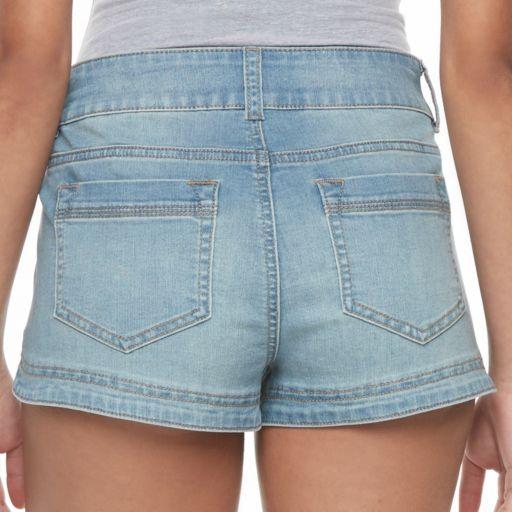 Juniors' Candie's® Dolphin Hem Denim Shortie Shorts