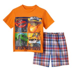 "Toddler Boy Blaze and the Monster Machines ""We Run These Tracks"" Graphic Tee & Plaid Shorts Set"
