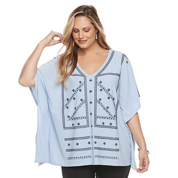 Plus Size Dana Buchman Embroidered Caftan Top