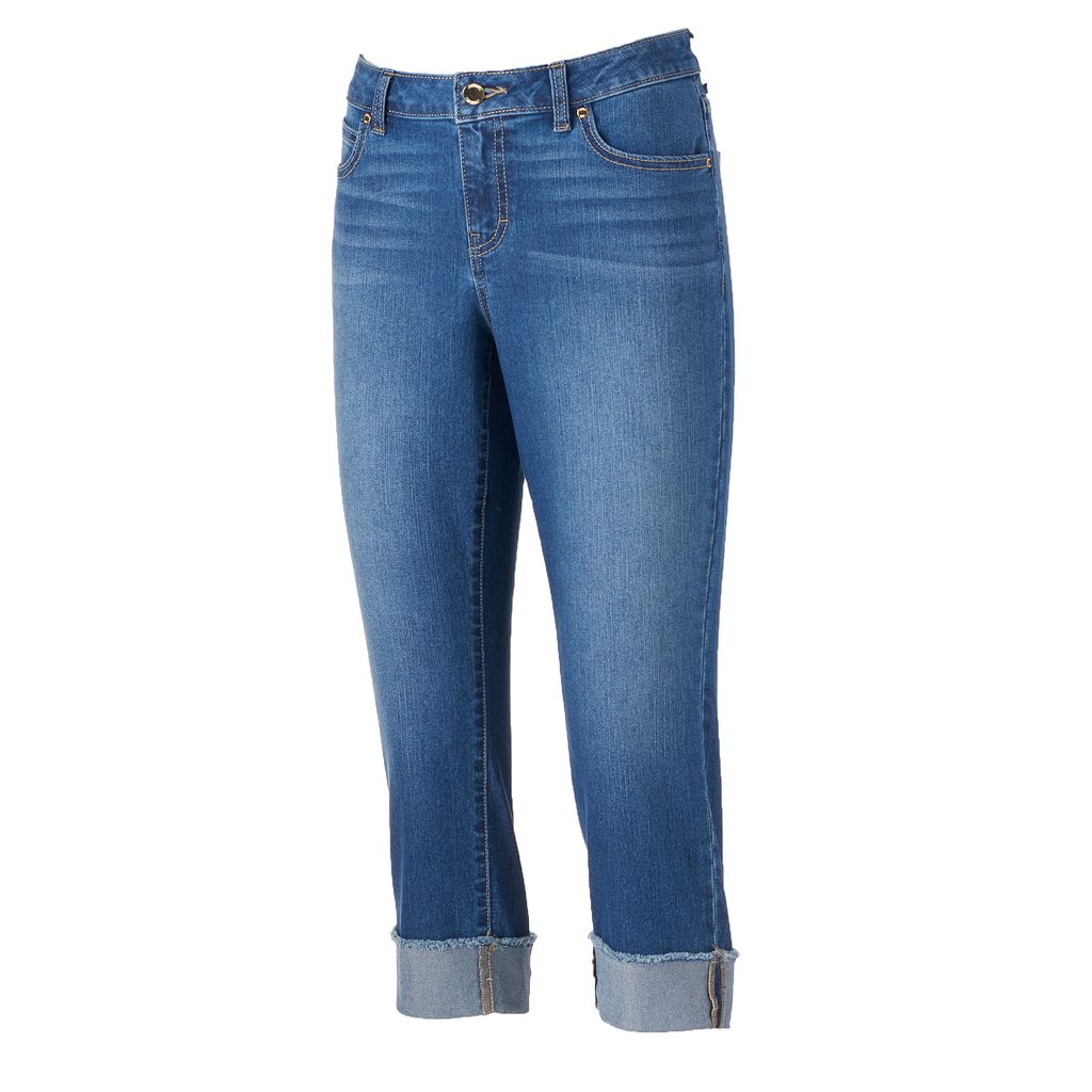 Petite Jennifer Lopez Cuffed Capri Jeans