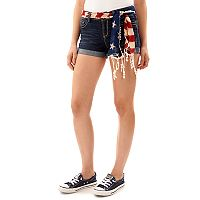 Juniors' Wallflower Americana Rolled Jean Shorts