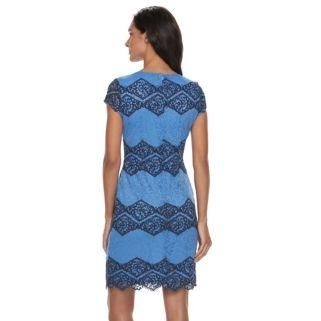 Women's Sharagano Tow-Tone Lace Sheath Dress