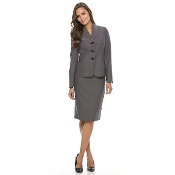 Women's Le Suit Pindot Suit Jacket & Pencil Skirt Set