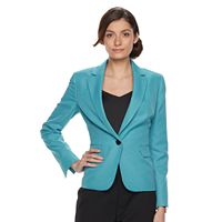 Women's Le Suit Turquoise Suit Jacket & Straight-Leg Pants Set
