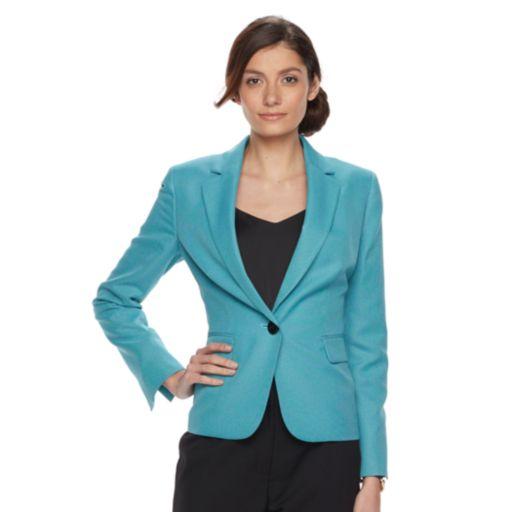 Women's Le Suit Turquoise Suit Jacket & Straight-Leg Pants Set