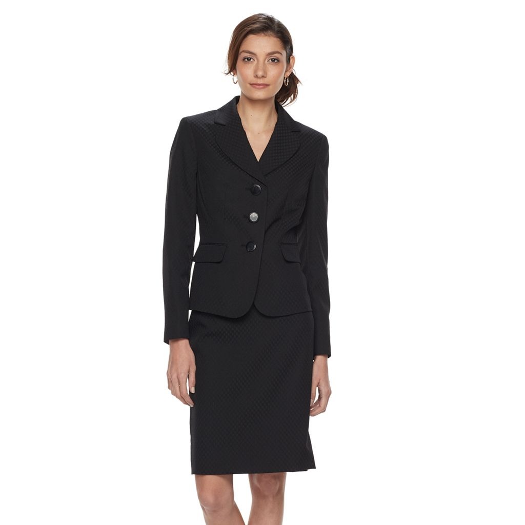 Women's Le Suit Solid Jacquard Suit Jacket & Pencil Skirt Set