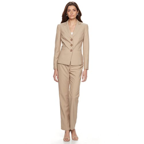 Women's Le Suit Pinstriped Suit Jacket & Straight-Leg Pants Set