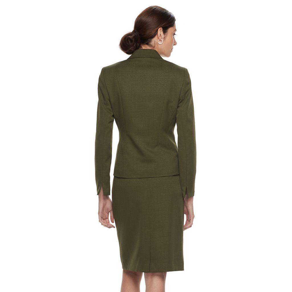 Women's Le Suit Solid Olive Suit Jacket & Pencil Skirt Set