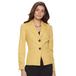 Women's Le Suit Solid Jacket & Straight-Leg Pants Set