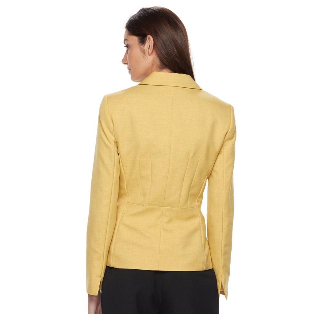 Women's Le Suit Solid Jacket & Straight-Leg Pants Set