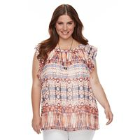 Plus Size AB Studio Ikat Flutter-Sleeve Top