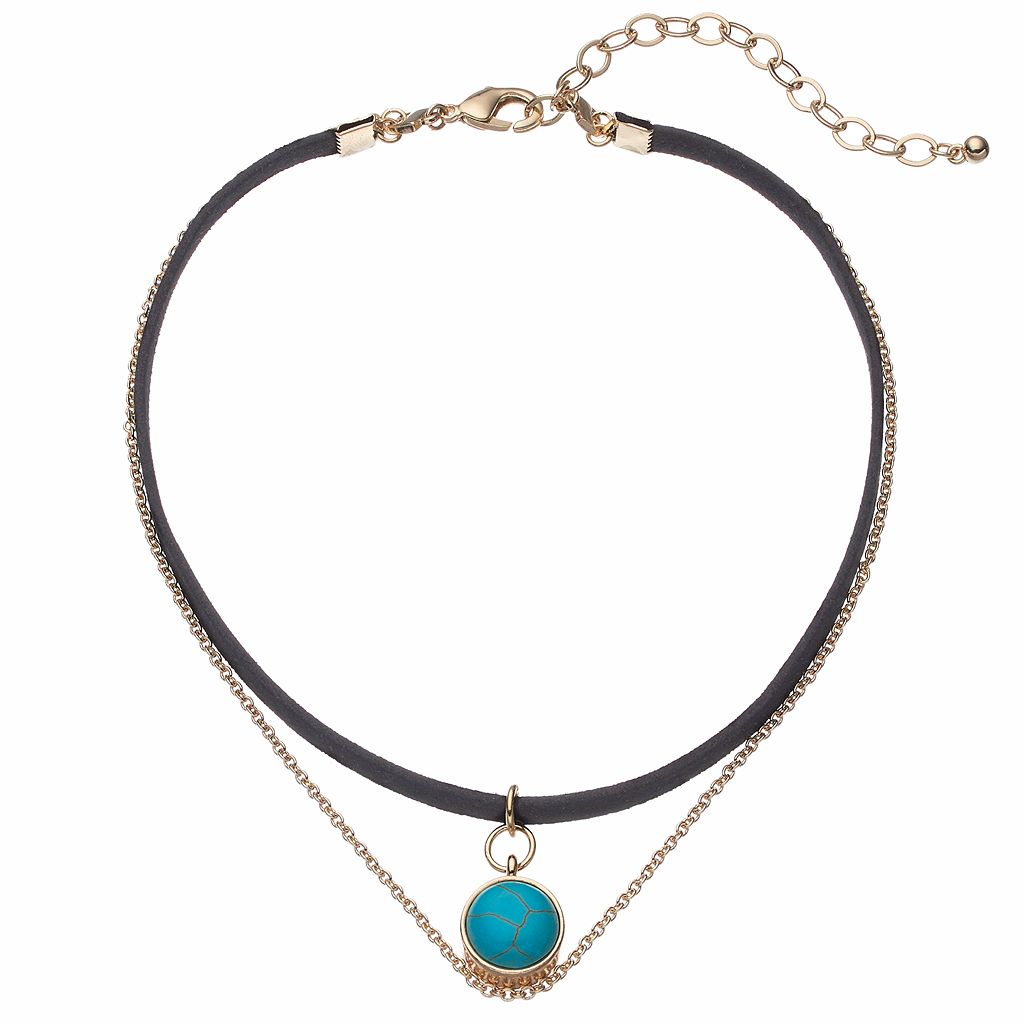Simulated Turquoise Cabochon Double Strand Choker Necklace