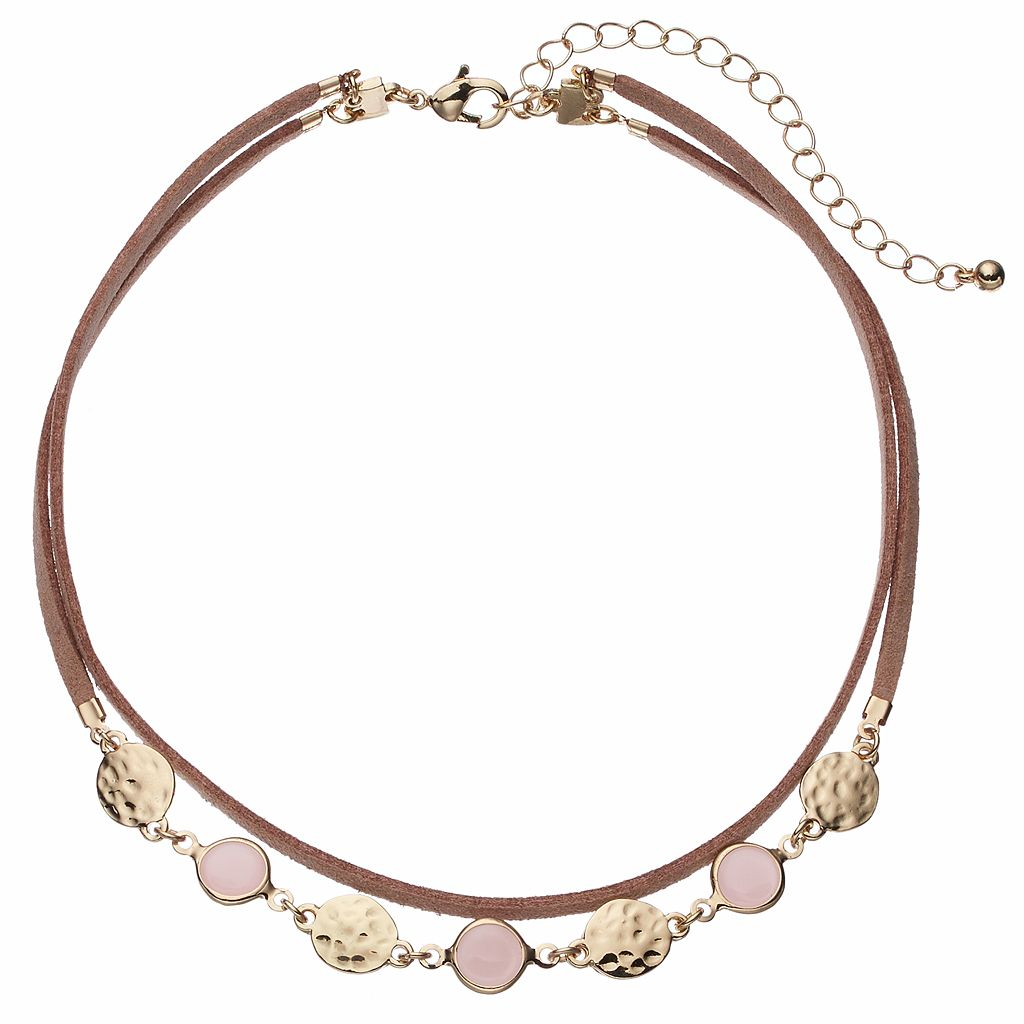 Pink Hammered Disc Double Strand Choker Necklace
