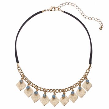 Blue Bead & Textured Marquise Charm Choker Necklace