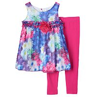 Toddler Girl Lavender by Us Angels Photoreal Flower Pattern Dress & Leggings Set