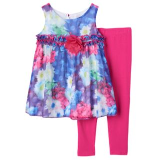 Toddler Girl Lavender by Us Angels Photoreal Flower Pattern Dress & Leggings Set
