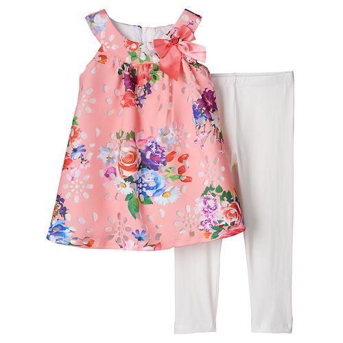 Toddler Girl Lavender by Us Angels A-Line Floral Dress & Leggings Set