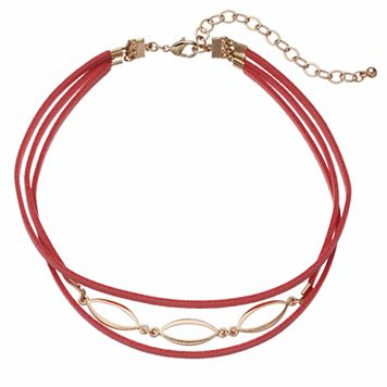 Pink Faux Suede Multi Strand Choker Necklace