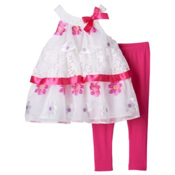 Toddler Girl Lavender by Us Angels Mixed Tiered A-Line Dress & Leggings Set