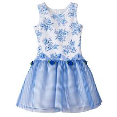 Toddler Girl Lavender by Us Angels Drop Waist Rosette Dress