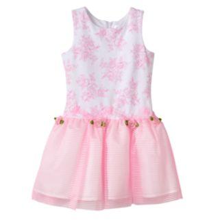 Toddler Girl Lavender by Us Angels Drop Waist Rosette Dress