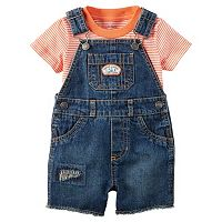 Baby Boy Carter's Short Sleeve Striped Tee & Denim Patch Shortalls