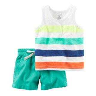 Baby Boy Carter's Striped Pocket Tank Top & Turquoise Shorts Set