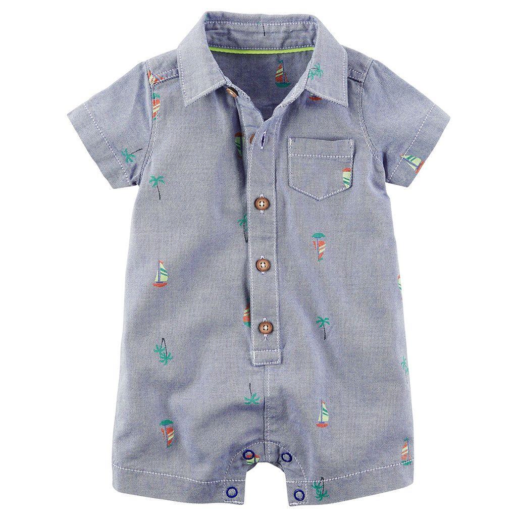 Baby Boy Carter's Schiffli Sailboat Button-Front Romper