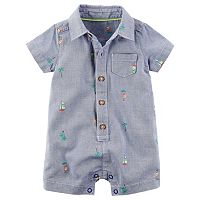 Baby Boy Carter's Schiffli Sailboat Button-Front Romper