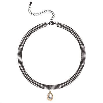 Faceted Teardrop Stone Mesh Choker Necklace