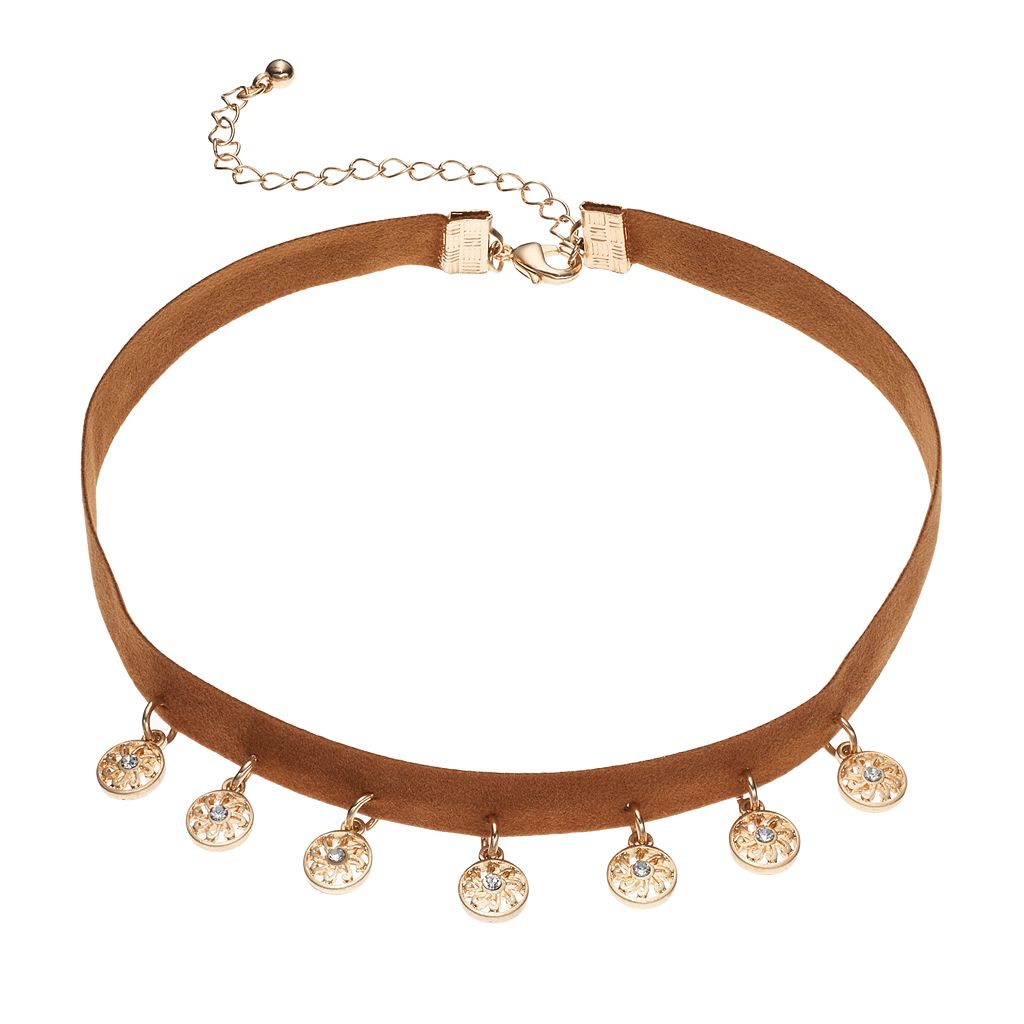 Brown Swirling Disc Choker Necklace