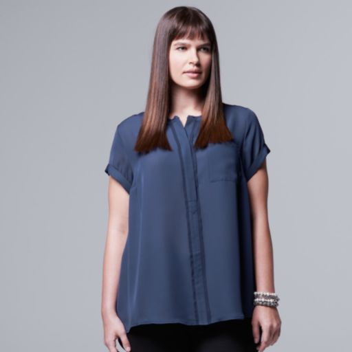 Plus Size Simply Vera Vera Wang Chiffon High-Low Top