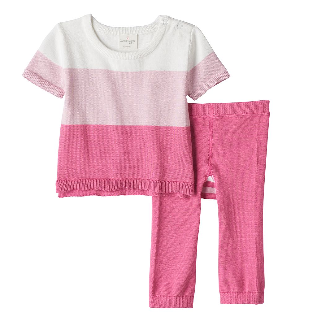 Baby Girl Cuddl Duds Colorblock Knit Top & Pants Set