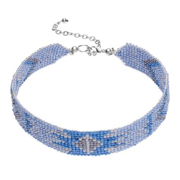 Blue Seed Bead Choker Necklace