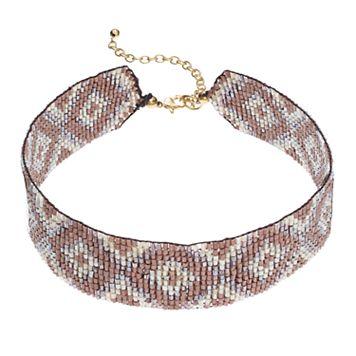 Brown Seed Bead Bird's-Eye Choker Necklace