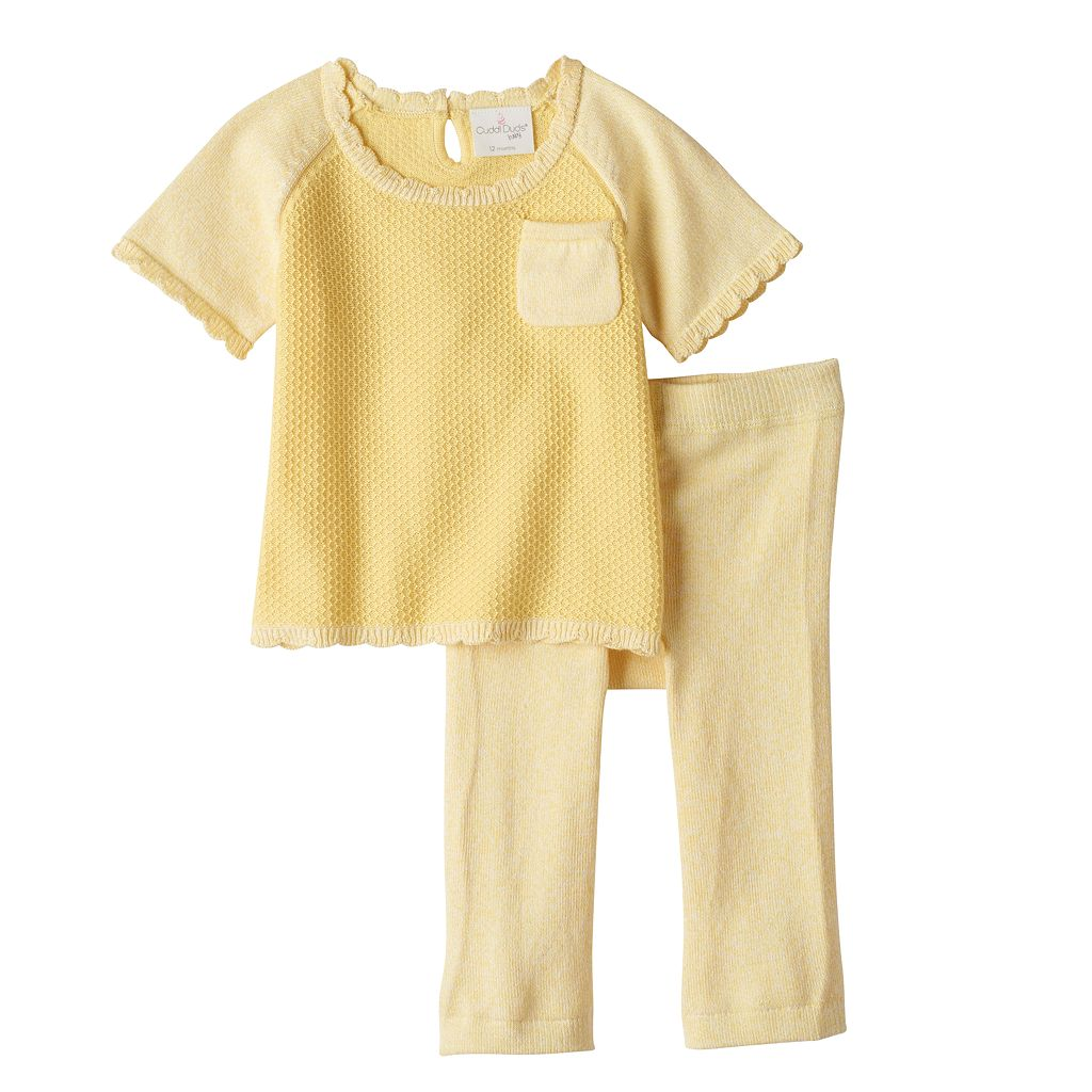 Baby Girl Cuddl Duds Knit Textured Top & Heart Pants Set