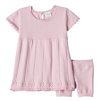Baby Girl Cuddl Duds Pointelle Knit Dress & Knit Bloomer Set