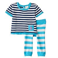 Baby Girl Cuddl Duds Striped Nautical Knit Top & Pants Set