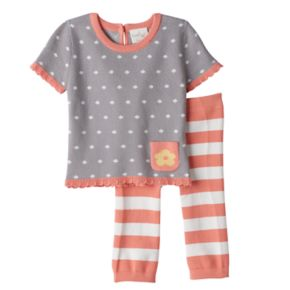 Baby Girl Cuddl Duds Polka-Dot Knit Top & Striped Pants Set
