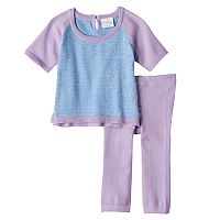 Baby Girl Cuddl Duds Colorblock Knit Top & Heart Pants Set