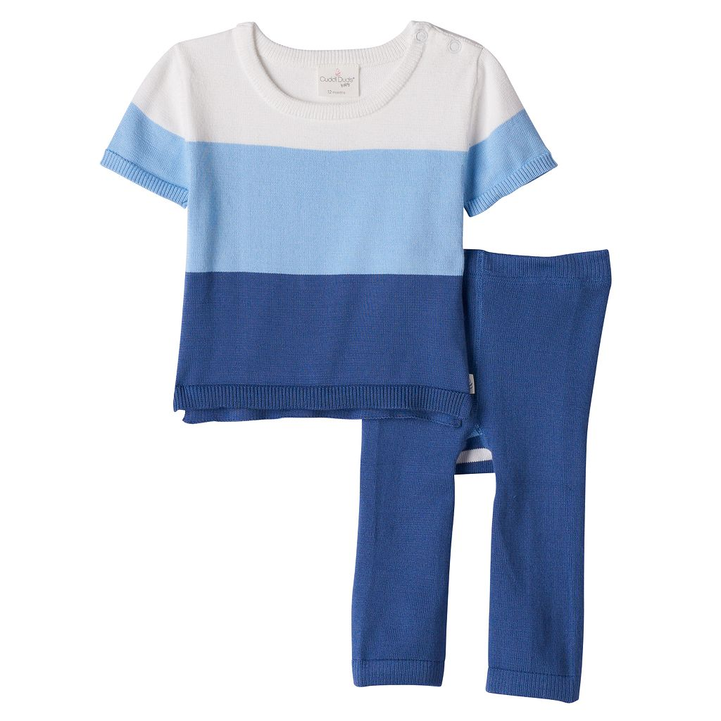 Baby Boy Cuddl Duds Colorblock Knit Top & Pants Set