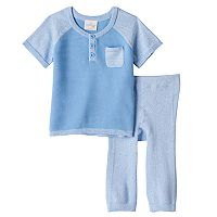 Baby Boy Cuddl Duds Knit Ribbed Henley Top & Pants Set