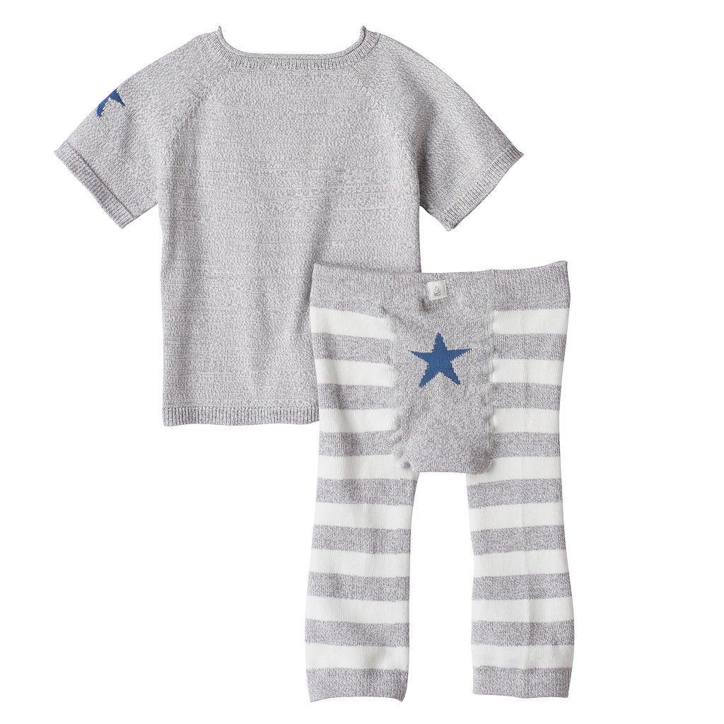 Baby Boy Cuddl Duds Striped Knit Top & Pants Set