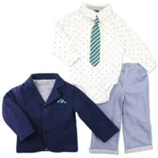 Toddler Boy Baby Boyz French Terry Blazer, Button-Front Bodysuit, Twill Pants & Tie Set