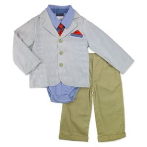 Toddler Boy Baby Boyz Button-Front Bodysuit, Striped Blazer, Cuffed Pants & Tie Set