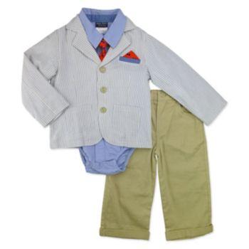 Toddler Boy Baby Boyz Button-Front Bodysuit, Striped Blazer, Cuffed Pants & Tie Set