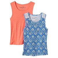 Girls 4-6x Freestyle Revolution 2 pkPrint & Pinhole Tank Top Set