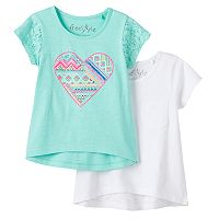 Girls 4-6x Freestyle Revolution Lace Heart & Solid Top 2-pk.