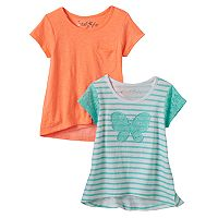 Girls 4-6x Freestyle Revolution Lace Butterfly & Slubbed Hi-Low Hem Tees