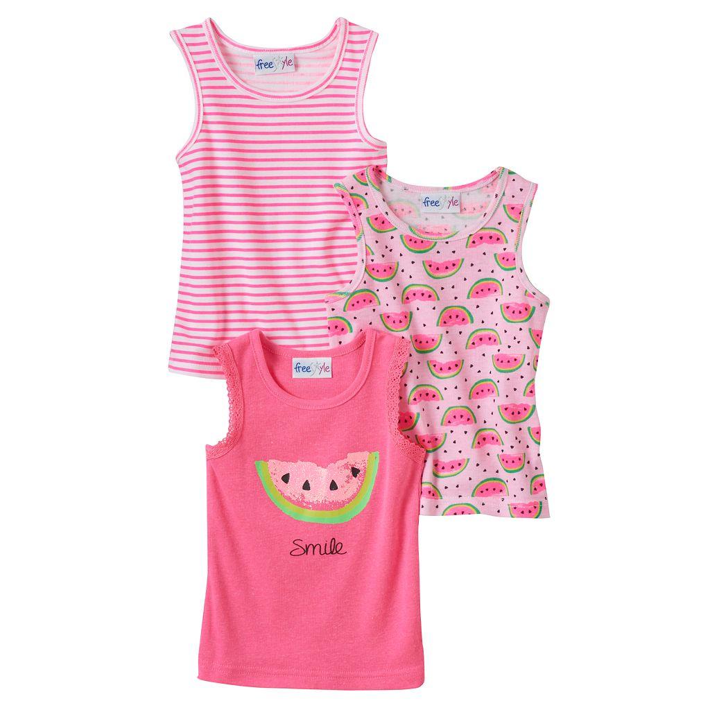 Toddler Girl Freestyle Revolution 3-pk. Print, Stripe & Graphic Tank Top Set